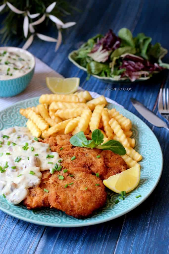 Chicken Schnitzel With Mushroom Sauce Chili To Choc