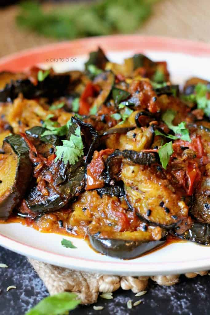 Closeup of eggplant curry in a plate