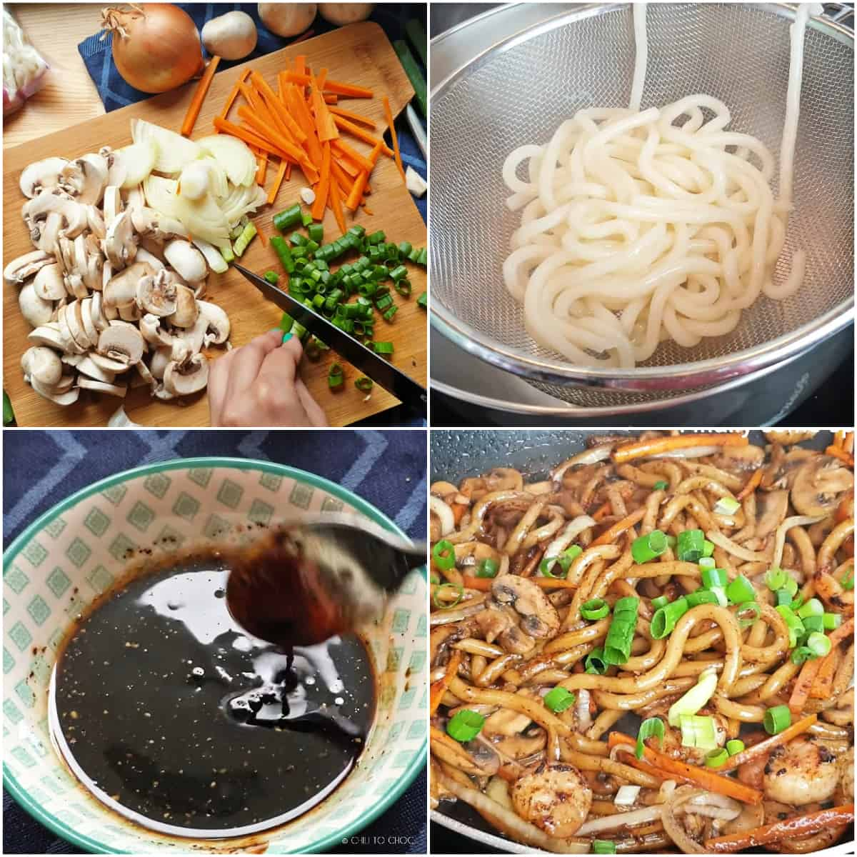 Step by step pictures of how to make Yaki Udon