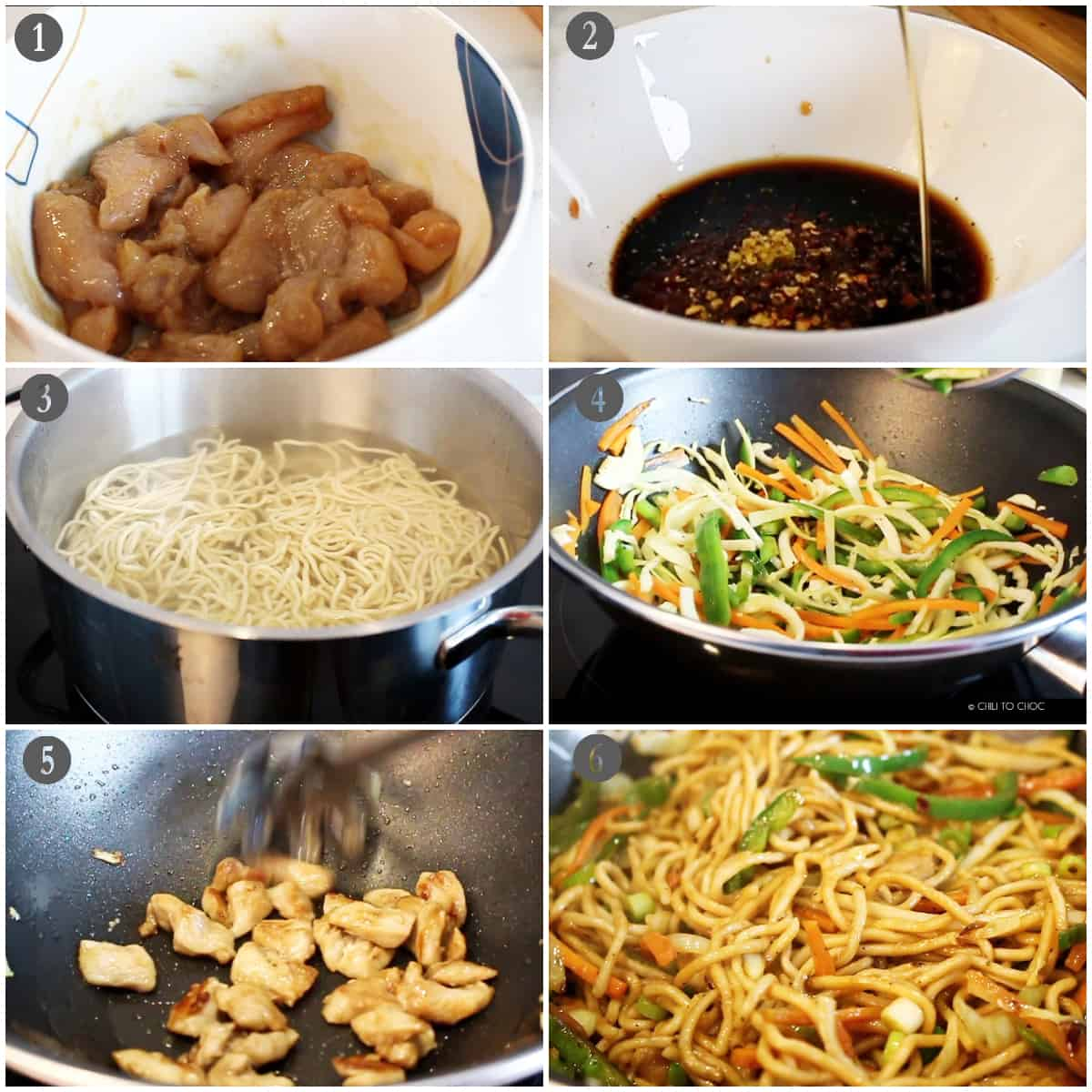 Step by step instructions on how to make chicken chow mein