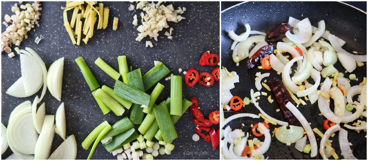Sliced aromatics for stir frying