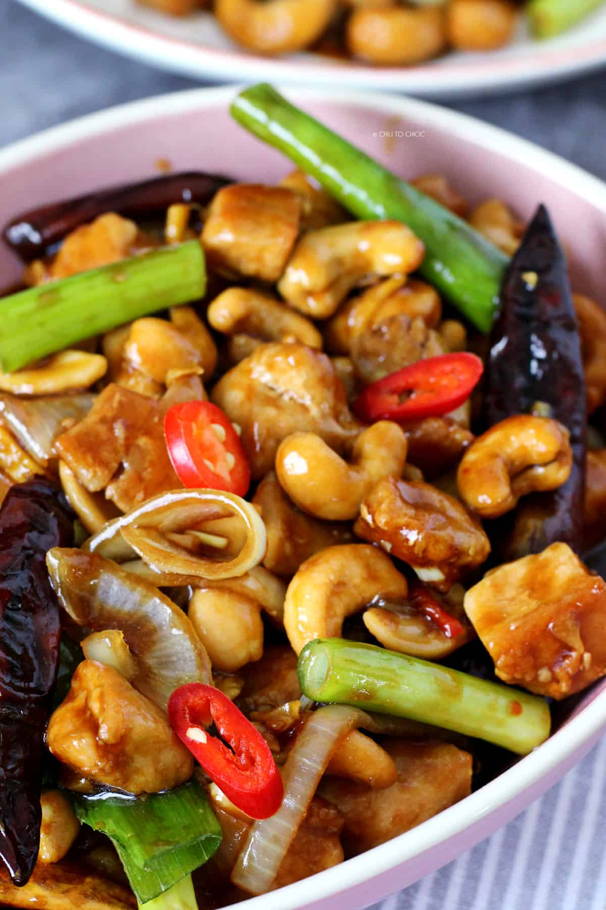 Chicken with cashews, spring onion and chilies